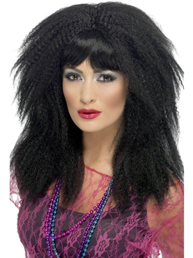 80's Black Crimp Wig