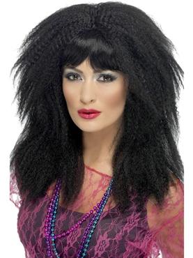 80's Black Crimp Wig