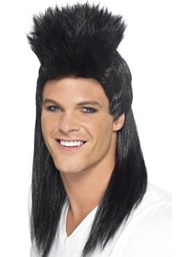 80's Black Rocker Mullet Wig