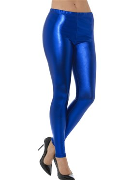 80's Blue Metallic Disco Leggings