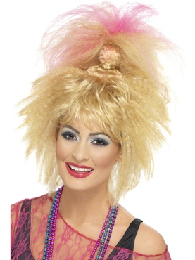 80's Crimped High Ponytail Wig
