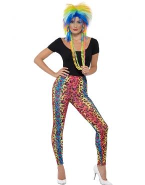 80s Neon Leopard Print Leggings