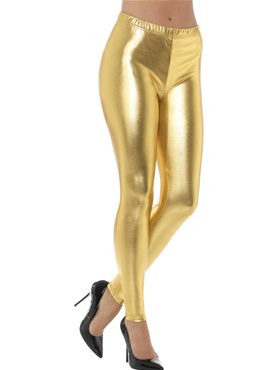 80's Gold Metallic Disco Leggings