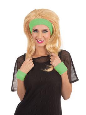 80s Headband and Wristband Set Green