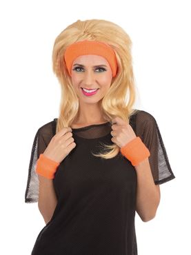 80s Headband and Wristband Set Orange