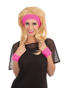 80s Headband and Wristband Set Pink