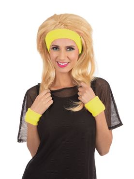 80s Headband and Wristband Set Yellow