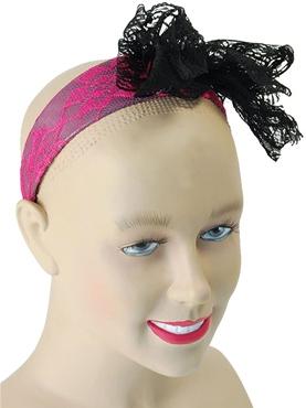 80's Neon Lace Bow Headband