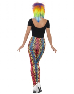 80s Neon Leopard Print Leggings - Side View
