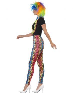 80s Neon Leopard Print Leggings - Back View