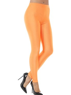 80's Neon Orange Disco Leggings