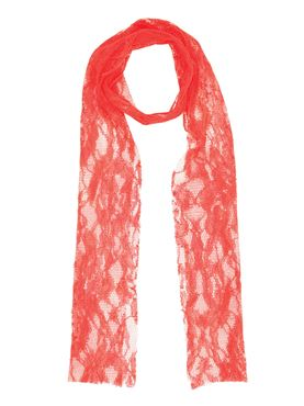 80s Neon Orange Lace Scarf