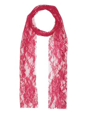 80s Neon Pink Lace Scarf