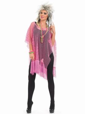 Adult 80's Neon Pink Long Mesh Top