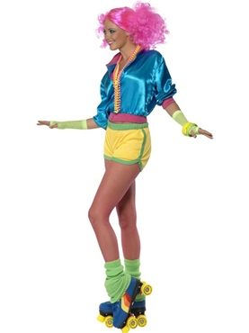 Adult 80's Neon Skater Girl Costume - Back View