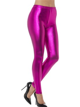 80's Pink Metallic Disco Leggings