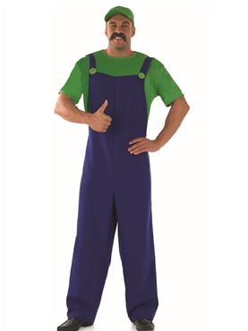 Adult 80's Plumbers Mate Green Costume