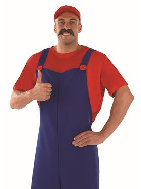 Adult 80's Plumbers Mate Red Costume - Back View