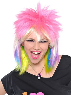 80s Multicoloured Punk Rock Chick Wig