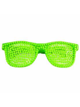 80s Rhinestone Neon Green Glasses