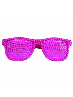 80s Rhinestone Neon Pink Glasses