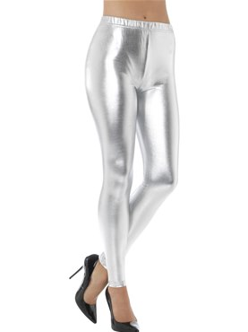 80's Silver Metallic Disco Leggings
