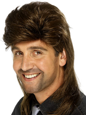 80's Style Mullet Jason Wig Brown Mix