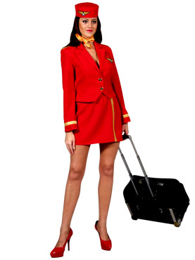 Adult Deluxe Air Hostess Costume Red