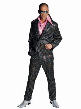 Black Sequinned Mens Disco Suit