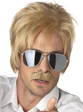 Adult Ace Detective Blonde Wig and Moustache