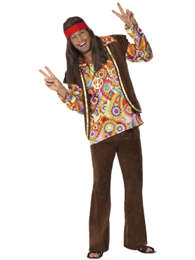 Adult 1960s Psychedelic Hippy Costume Couples Costume