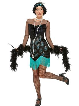 Adult 20s Peacock Flapper Costume - Back View