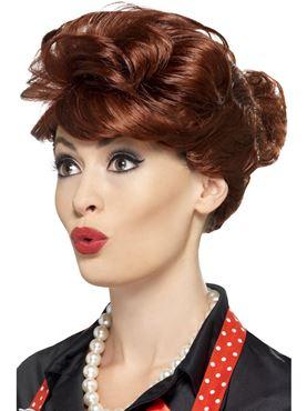 Adult 50s Housewife Auburn Wig