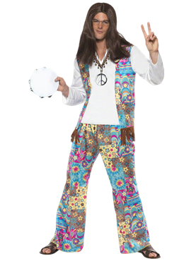 Adult 60 Mens Hippie Costume Couples Costume