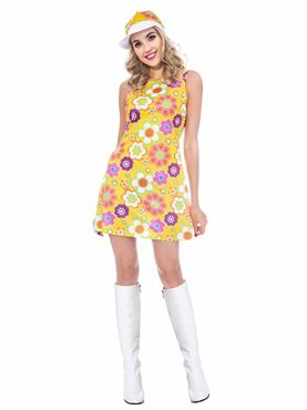 Adult 60s Flower Power Dress Costume Couples Costume