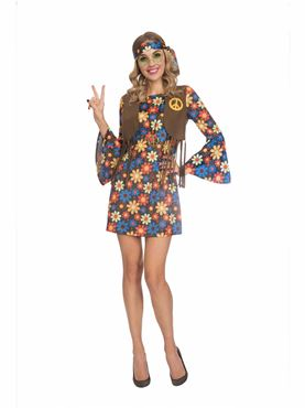 Adult 60s Groovy Hippy Woman Costume Couples Costume