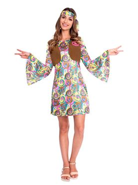 Adult 60s Psychedelic Hippy Costume Couples Costume