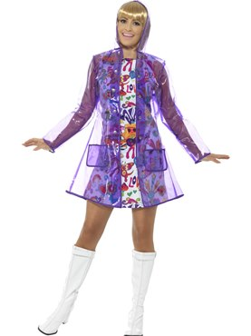 Adult 60's Rain Mac Costume - Back View