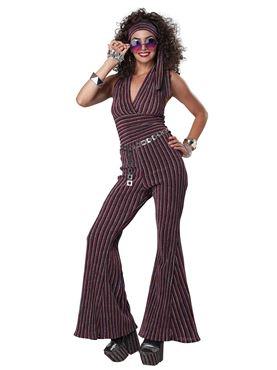 Adult 70s Halter Pant Set Costume - Back View