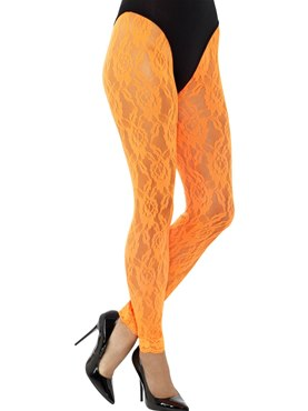 Adult 80s Neon Orange Lace Leggings