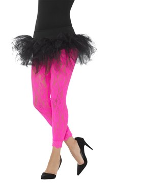 Adult 80s Neon Pink Lace Leggings