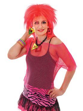Adult 80s Neon Pink Mesh Top