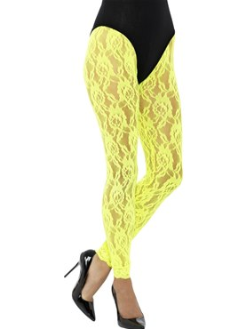 Adult 80s Neon Yellow Lace Leggings