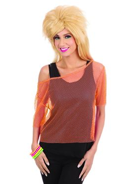 Adult 80s Orange Mesh Top