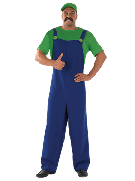 Adult 80's Plumbers Mate Green Costume Couples Costume