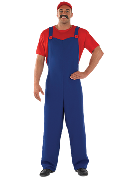 Adult 80's Plumbers Mate Red Costume Couples Costume