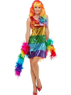 Adult All That Glitters Rainbow Costume - Back View