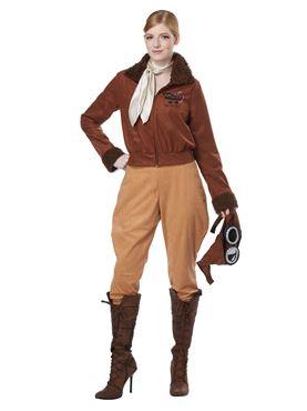 Adult Amelia Earhart Aviator Costume - Back View