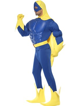 Adult Bananaman Muscle Chest Costume - Back View