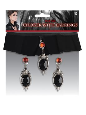 Adult Gothic Choker and Earrings Set